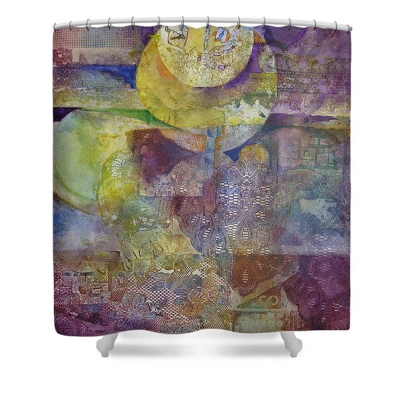Abstract Shower Curtain featuring the painting Eclipse by Marlene Gremillion