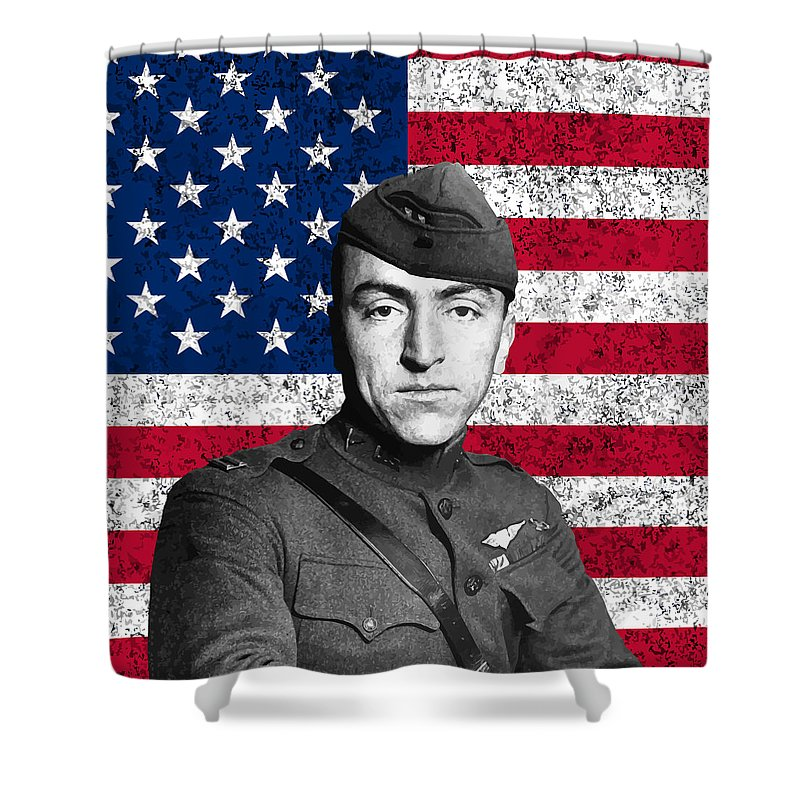 Eddie Rickenbacker Shower Curtain featuring the painting Eddie Rickenbacker And The American Flag by War Is Hell Store