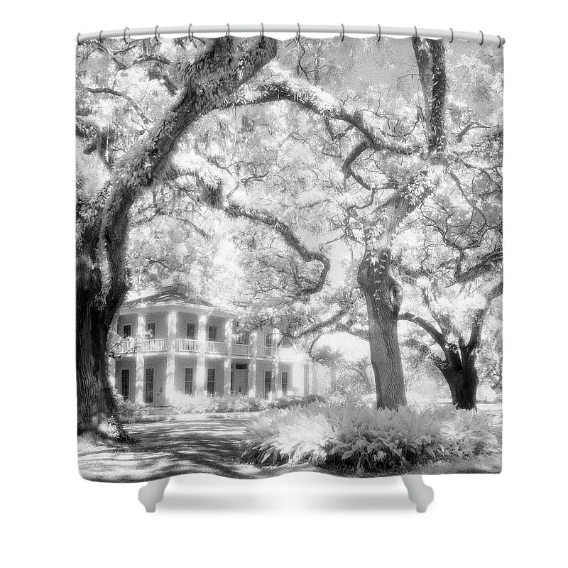Black And White Photograph Shower Curtain featuring the photograph Eden Plantation A Florida State Park by John Harmon