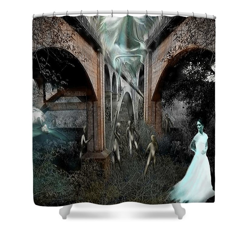 Eden Surreal Creatures Bridges Dreaming Shower Curtain featuring the digital art Eden by Veronica Jackson