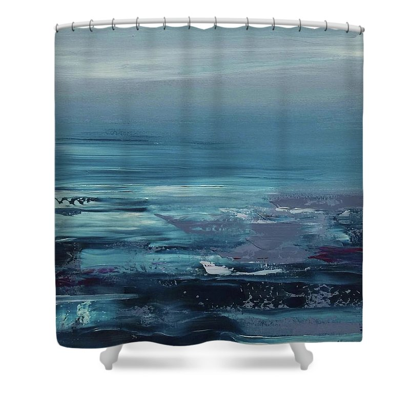Abstract Seascape/ Landscape Shower Curtain featuring the painting Edge Of The Deep Blue Sea by Alice Lipping