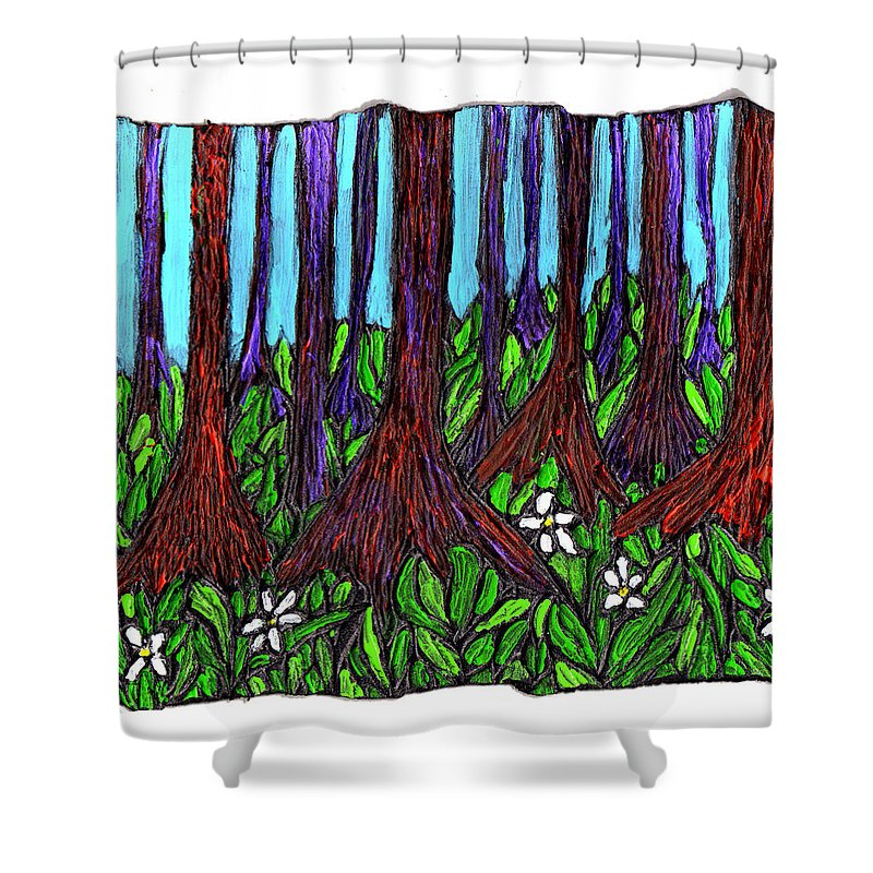 Trees Shower Curtain featuring the painting Edge Of The Swamp by Wayne Potrafka