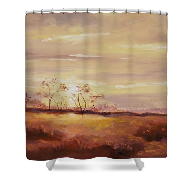 Desert Landscapes Shower Curtain featuring the painting Edge Of Tucson by Ginger Concepcion