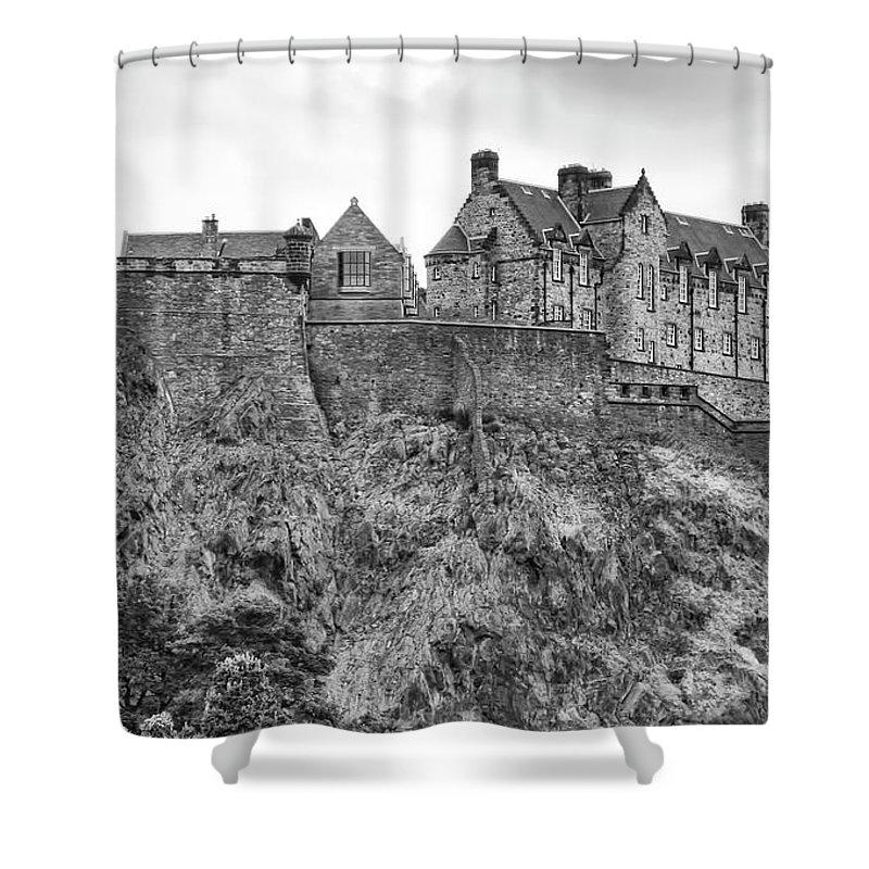 Scotland Shower Curtain featuring the photograph Edinburgh Castle Bw by Chuck Kuhn