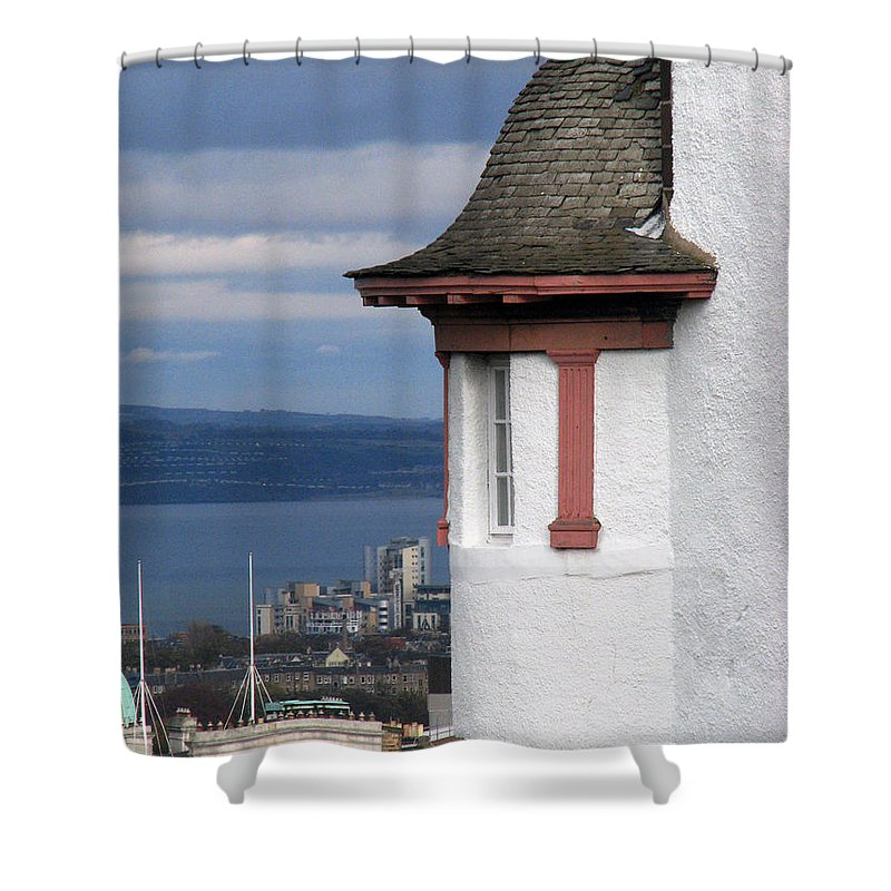 Scotland Shower Curtain featuring the digital art Edinburgh Scotland by Amanda Barcon