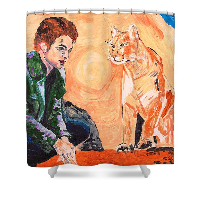 Edward Shower Curtain featuring the painting Edward Cullen And His Diet by Valerie Ornstein