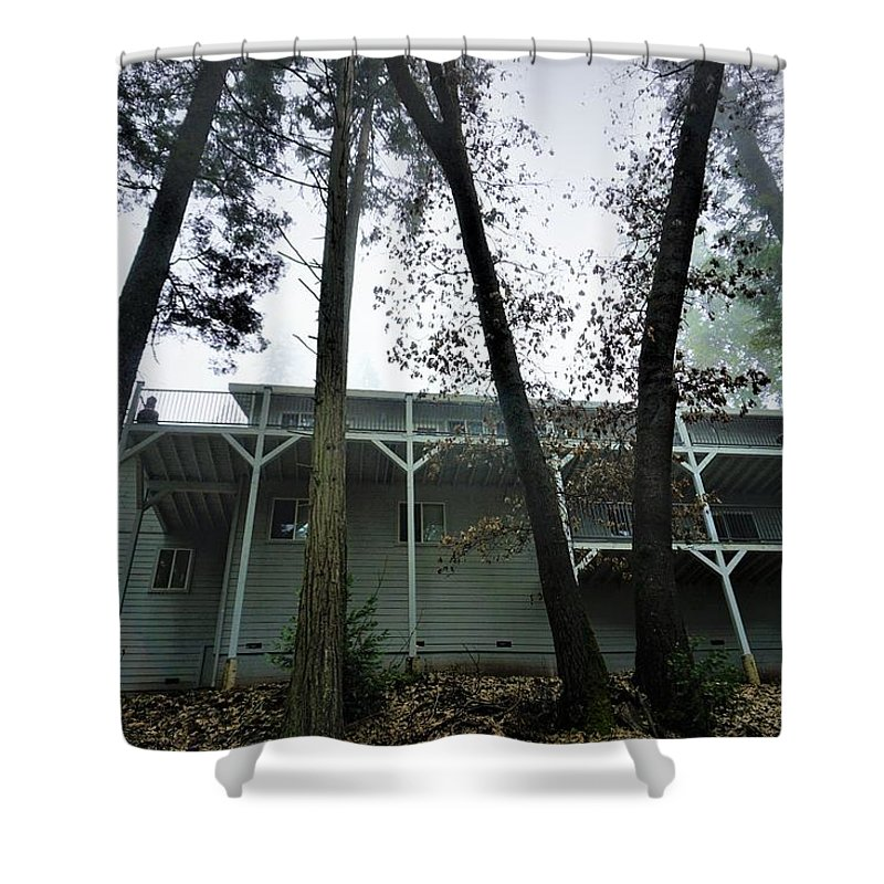 Cabin Shower Curtain featuring the photograph Eerie Cabin by Brian Redgrave