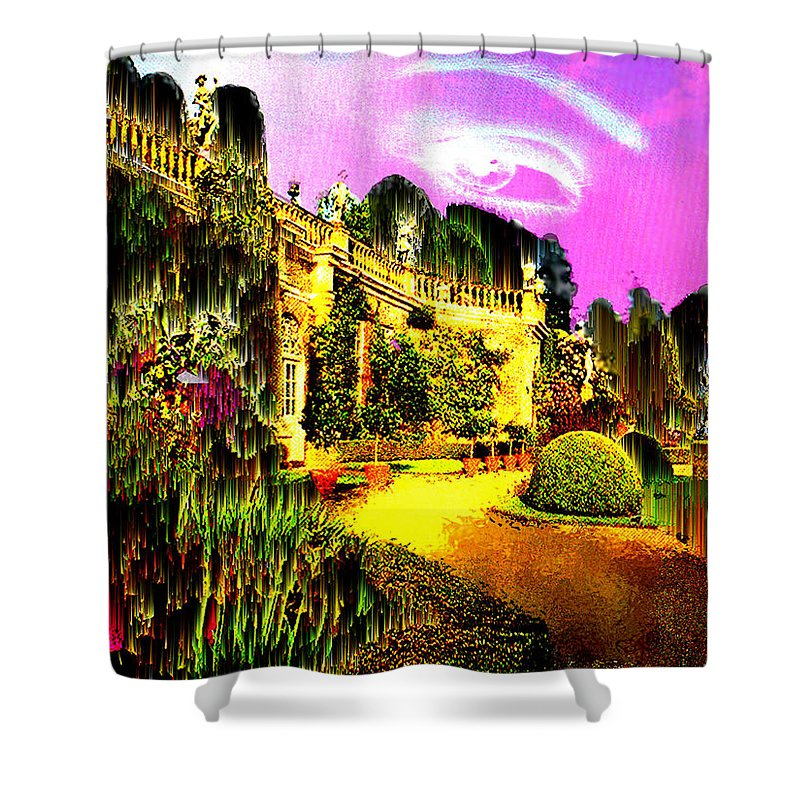 Mansion Shower Curtain featuring the digital art Eerie Estate by Seth Weaver