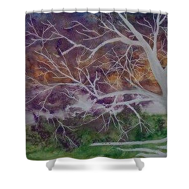 Watercolor Shower Curtain featuring the painting EERIE gothic landscape fine art surreal print by Derek Mccrea