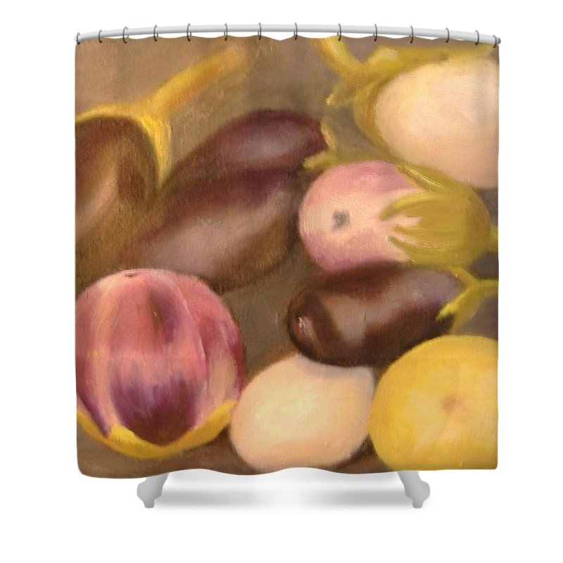 Vegestables Shower Curtain featuring the painting Eggplant by Pat Snook