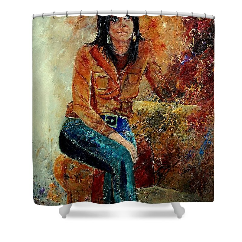 Girl Shower Curtain featuring the painting Eglantine 57 by Pol Ledent
