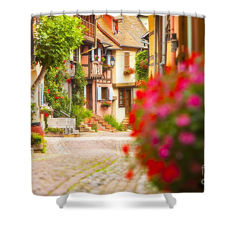 Alsace Shower Curtain featuring the photograph Half-timbered House, Eguisheim, Alsace, France by Marco Arduino
