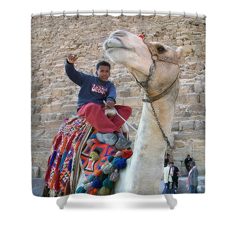 Egypt Shower Curtain featuring the photograph Egypt - Boy With A Camel by Munir Alawi