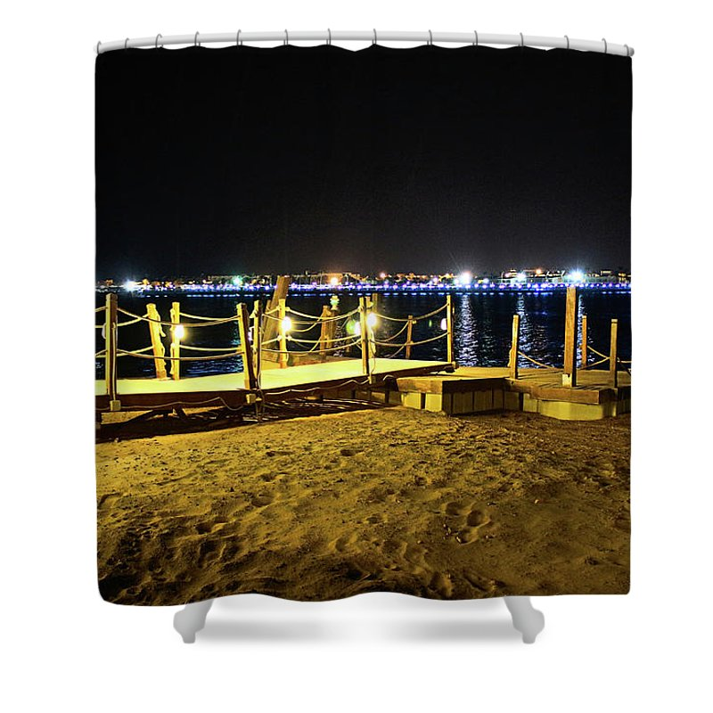 Beach Shower Curtain featuring the photograph Egypt At Night by Dave Lees