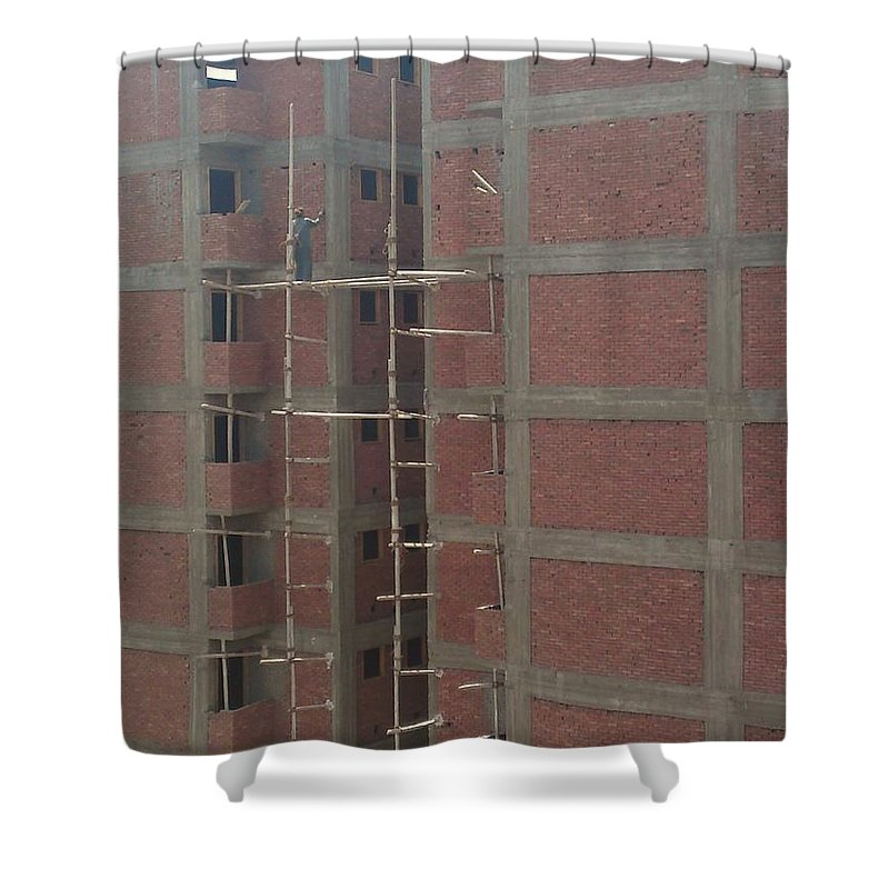 Egyptian Builders Spider Man Bricks Wood Construction Shower Curtain featuring the photograph Egyptian Builders by Mina Milad