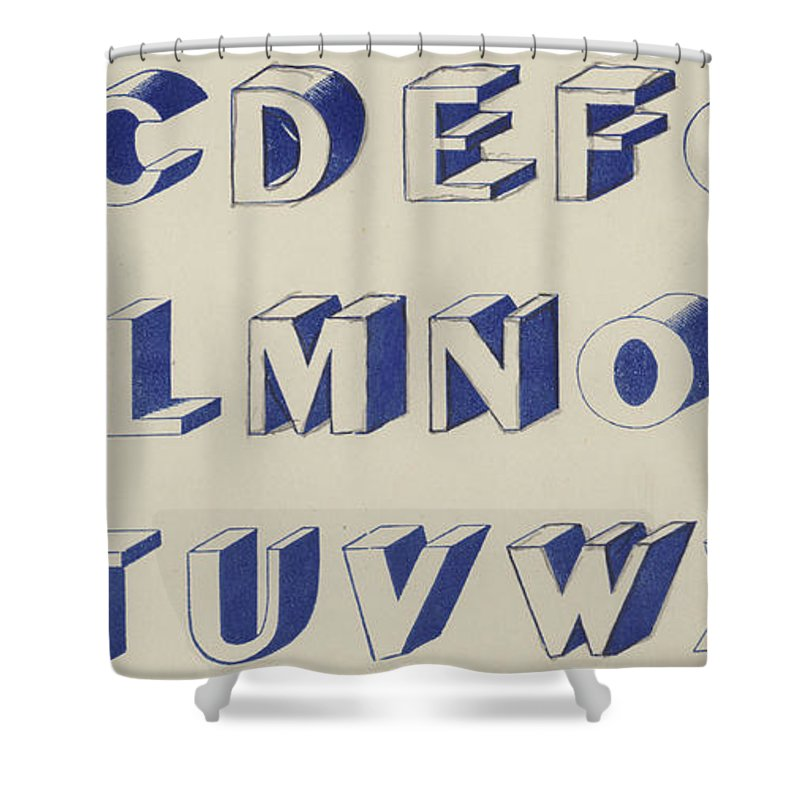 Blue Shower Curtain featuring the drawing Egyptian For Carving Vintage Blue Font Design by English School