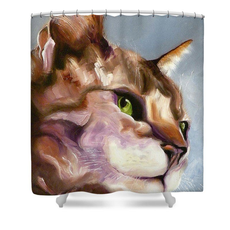 Cat Shower Curtain featuring the painting Egyptian Mau Princess by Susan A Becker