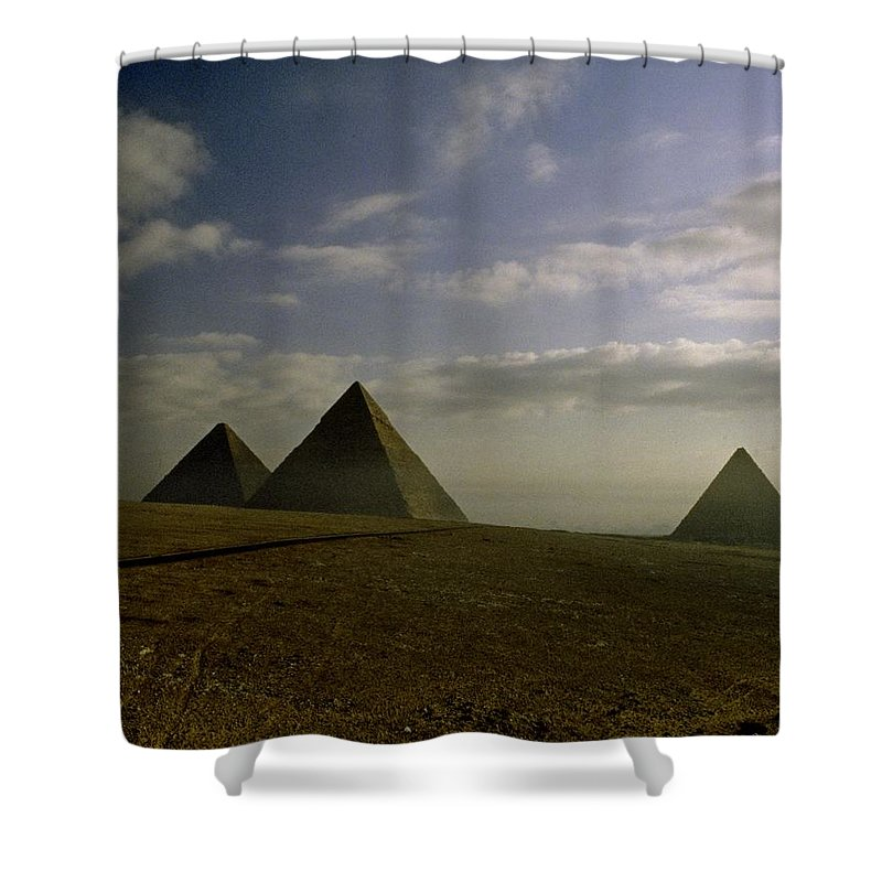 Giza Shower Curtain featuring the photograph Egyptian Sunrise by Gary Wonning