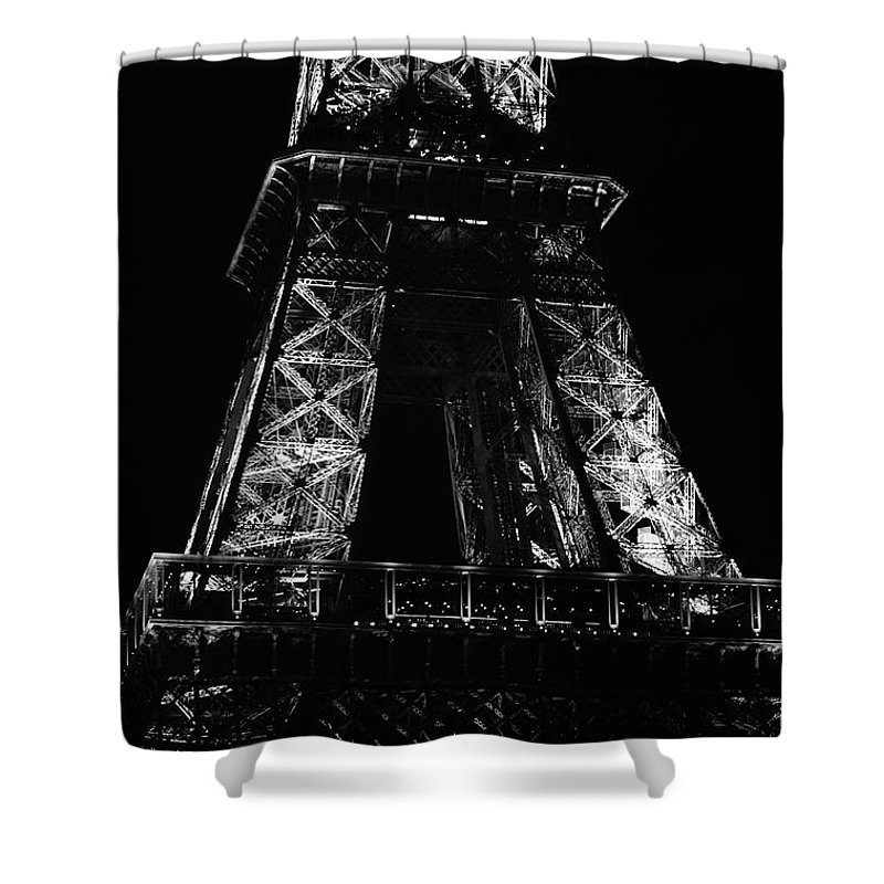Travelpixpro Shower Curtain featuring the photograph Eiffel Tower Illuminated At Night First And Second Decks Paris France Black And White by Shawn O'Brien