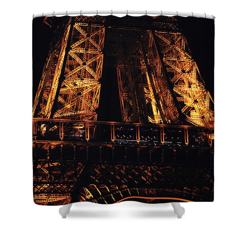 Travelpixpro Shower Curtain featuring the photograph Eiffel Tower Illuminated At Night First Floor Deck Paris France by Shawn O'Brien