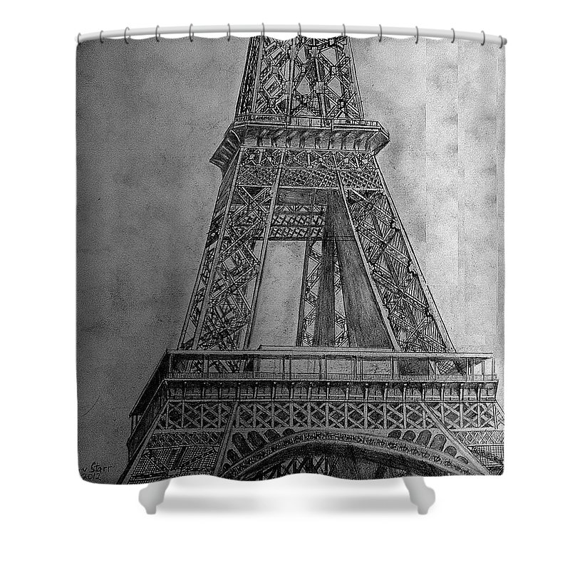 Icon Shower Curtain featuring the drawing Eiffel Tower by Irving Starr