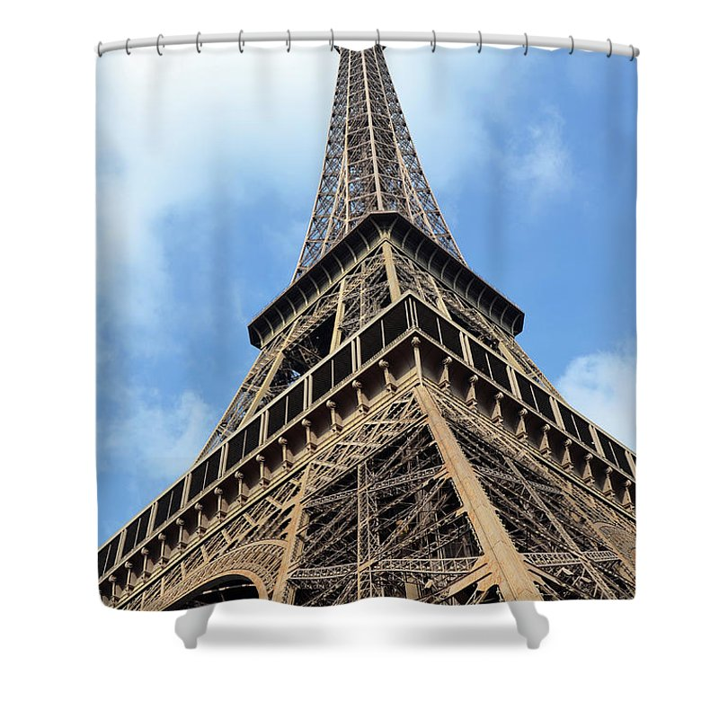 Travelpixpro Shower Curtain featuring the photograph Eiffel Tower Sunlit Corner Perspective Paris France by Shawn O'Brien