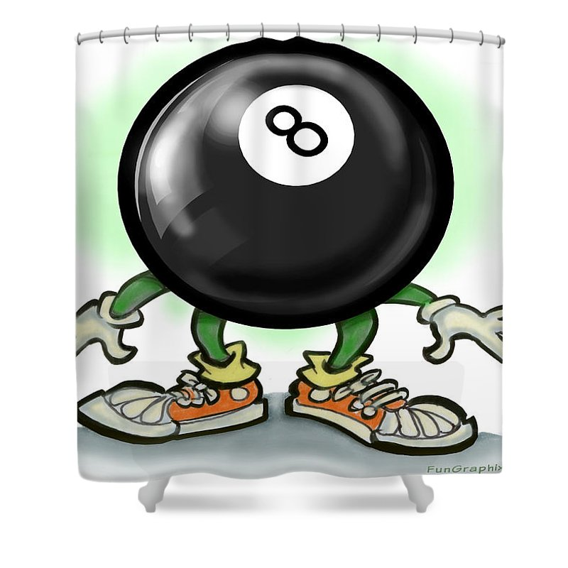 Eightball Shower Curtain featuring the greeting card Eightball by Kevin Middleton
