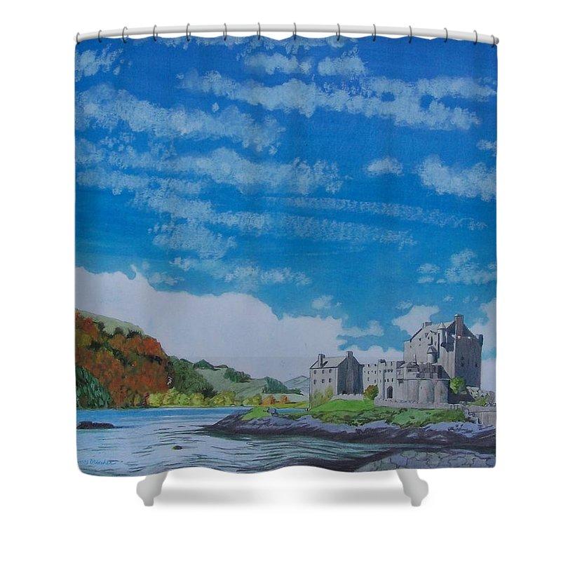 Landscape Shower Curtain featuring the mixed media Eilean Donan by Constance Drescher