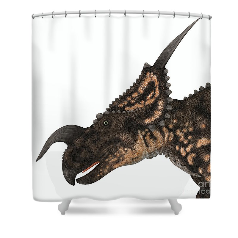 Einiosaurus Shower Curtain featuring the painting Einiosaurus Dinosaur Head by Corey Ford