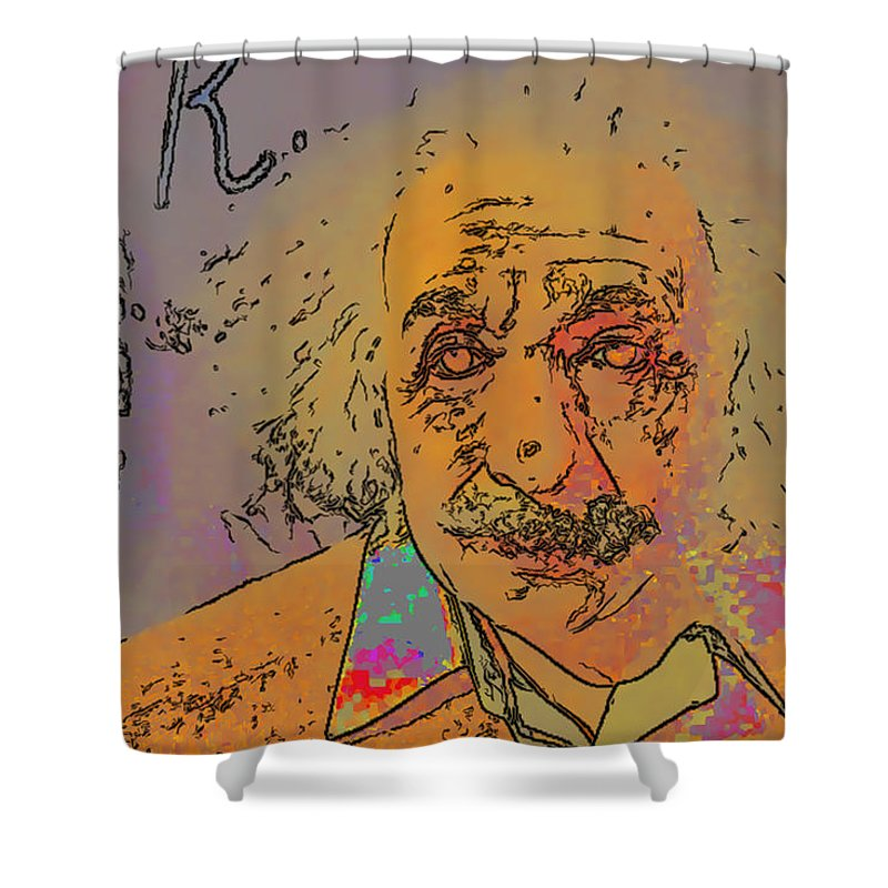 Einstein Shower Curtain featuring the digital art Einstein by Galeria Trompiz
