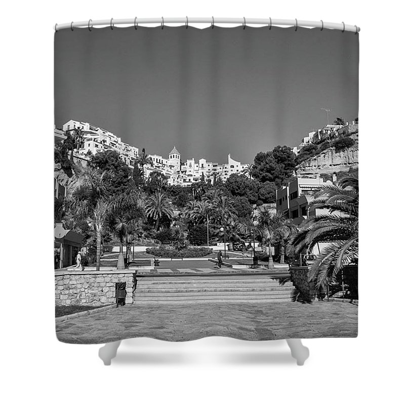 Mediterranean Shower Curtain featuring the photograph El Capistrano, Nerja by John Edwards