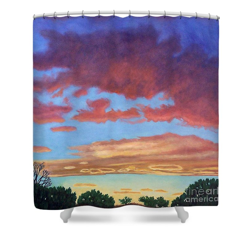 Sunset Shower Curtain featuring the painting El Dorado Sunset by Brian Commerford