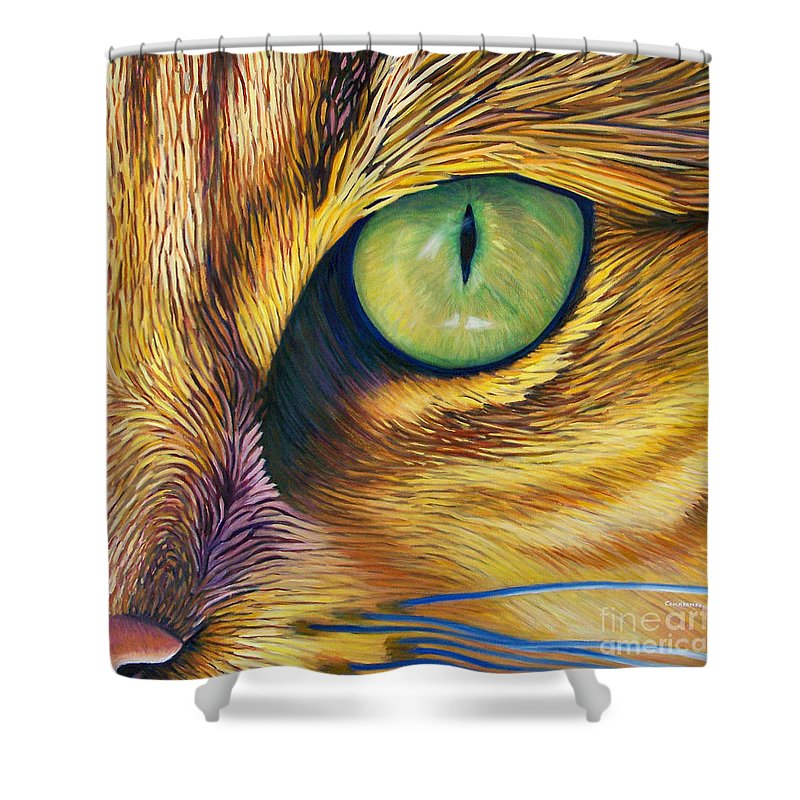 Cat Shower Curtain featuring the painting El Gato by Brian Commerford