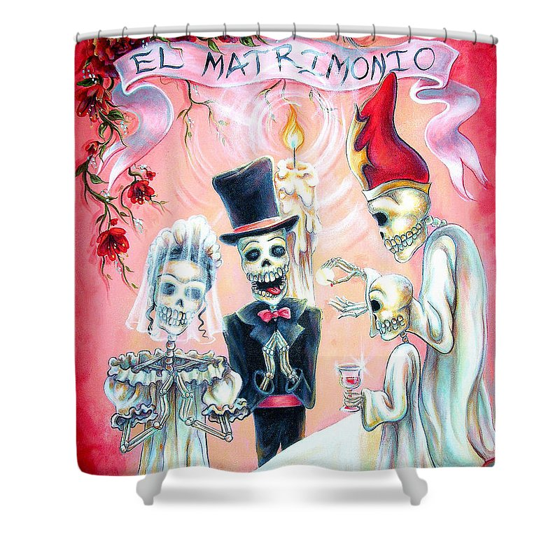 Day Of The Dead Shower Curtain featuring the painting El Matrimonio by Heather Calderon