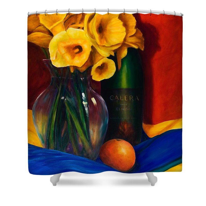 Red Shower Curtain featuring the painting El Nino by Shannon Grissom