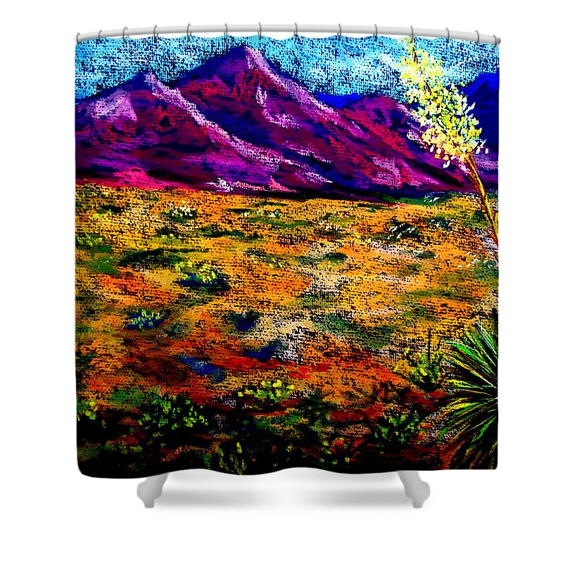 Yucca Shower Curtain featuring the painting El Paso by Melinda Etzold