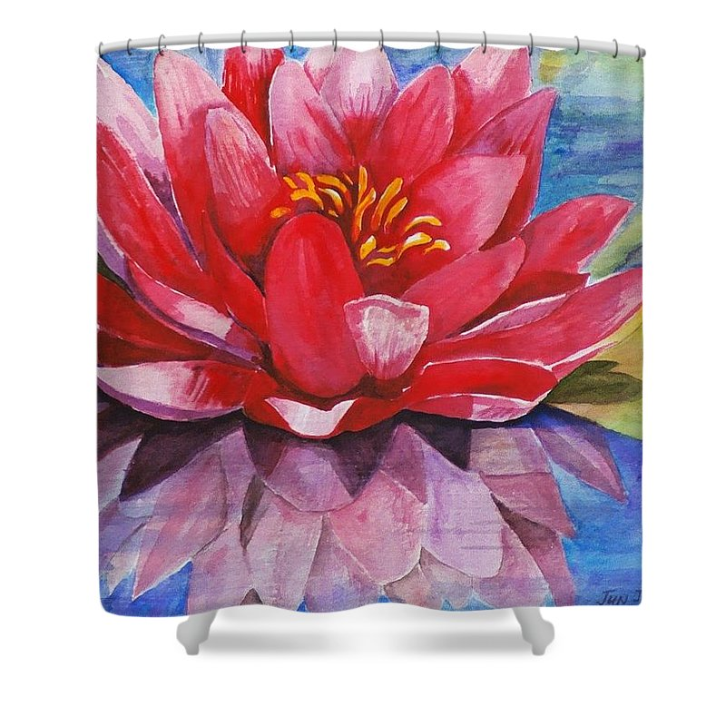 Lily Shower Curtain featuring the painting Ela Lily by Jun Jamosmos