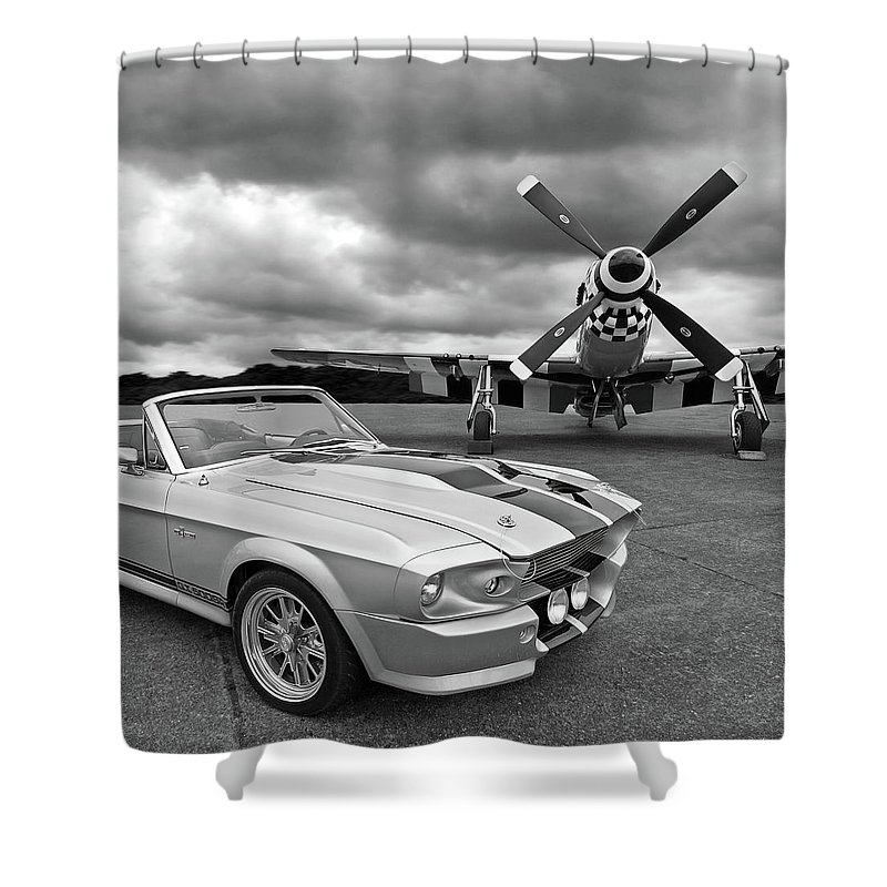Old Ford Mustang Shower Curtain featuring the photograph Eleanor Mustang With P51 Black And White by Gill Billington