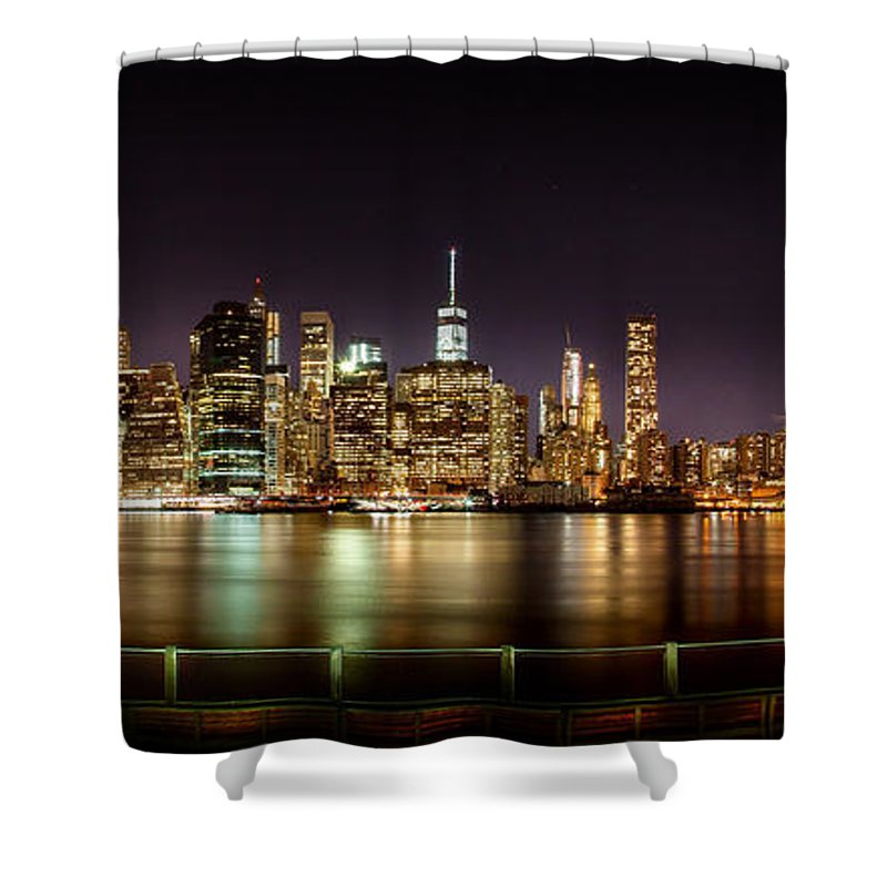 New York City Shower Curtain featuring the photograph Electric City by Az Jackson