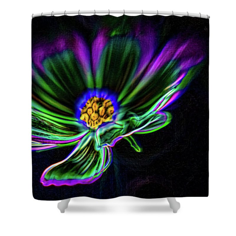 Daisy Shower Curtain featuring the digital art Electric Daisy by Scott Campbell