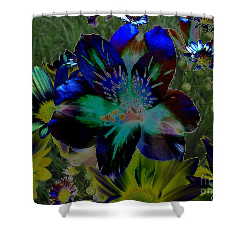Art For The Wall...patzer Photography Shower Curtain featuring the photograph Electric Lily by Greg Patzer