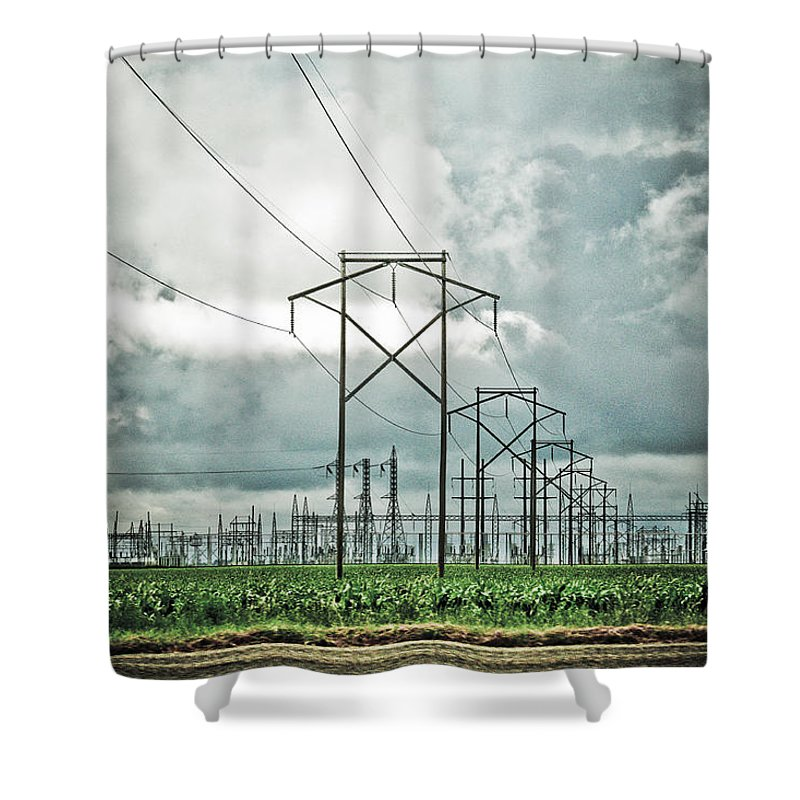 Electric Shower Curtain featuring the photograph Electric Lines And Weather by Marilyn Hunt