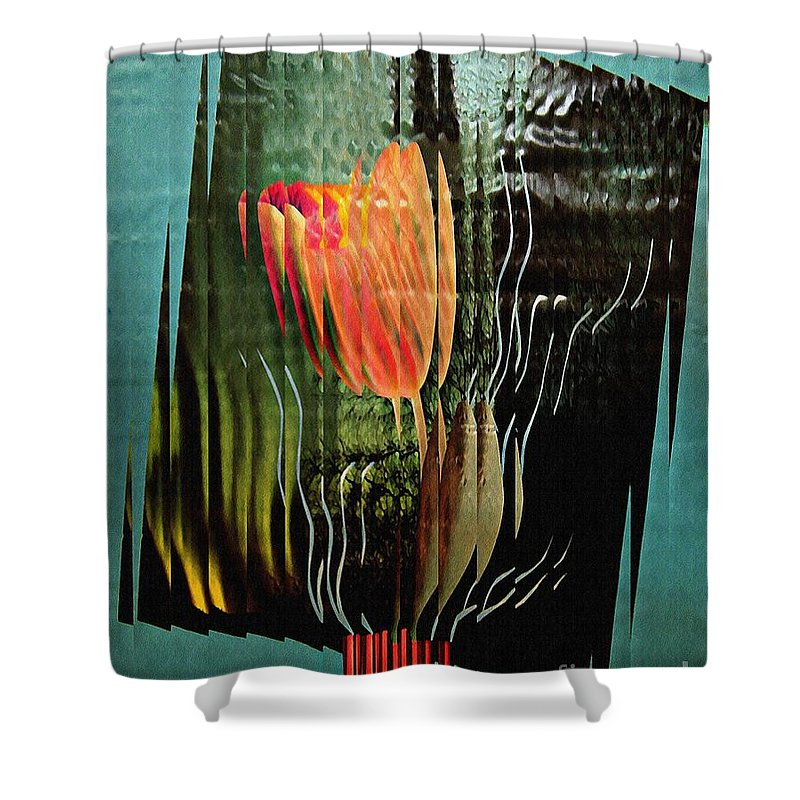 Tulip Shower Curtain featuring the mixed media Electric Tulip 2 by Sarah Loft