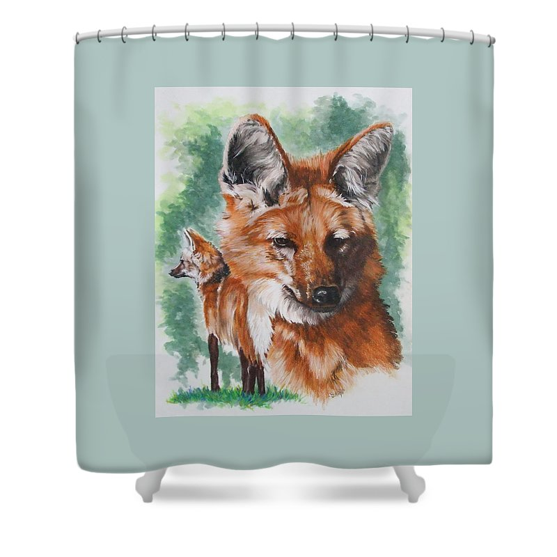 Canine Shower Curtain featuring the mixed media Elegant by Barbara Keith