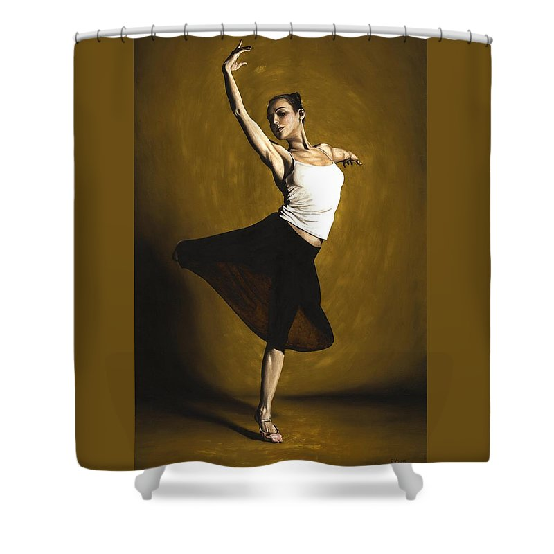 Elegant Shower Curtain featuring the painting Elegant Dancer by Richard Young