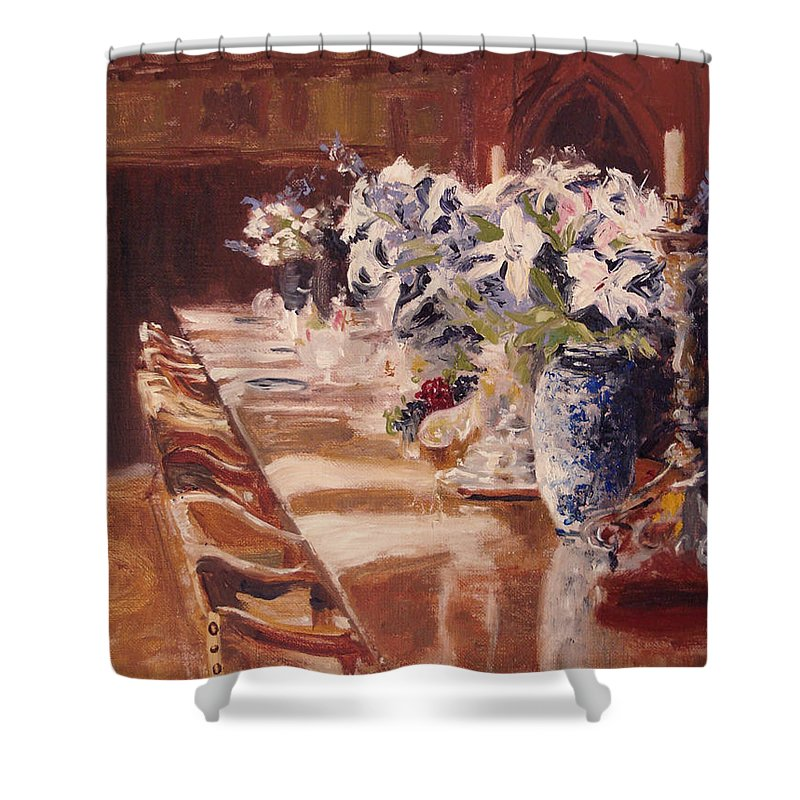 Vases Shower Curtain featuring the painting Elegant Dining At Hearst Castle by Barbara Andolsek