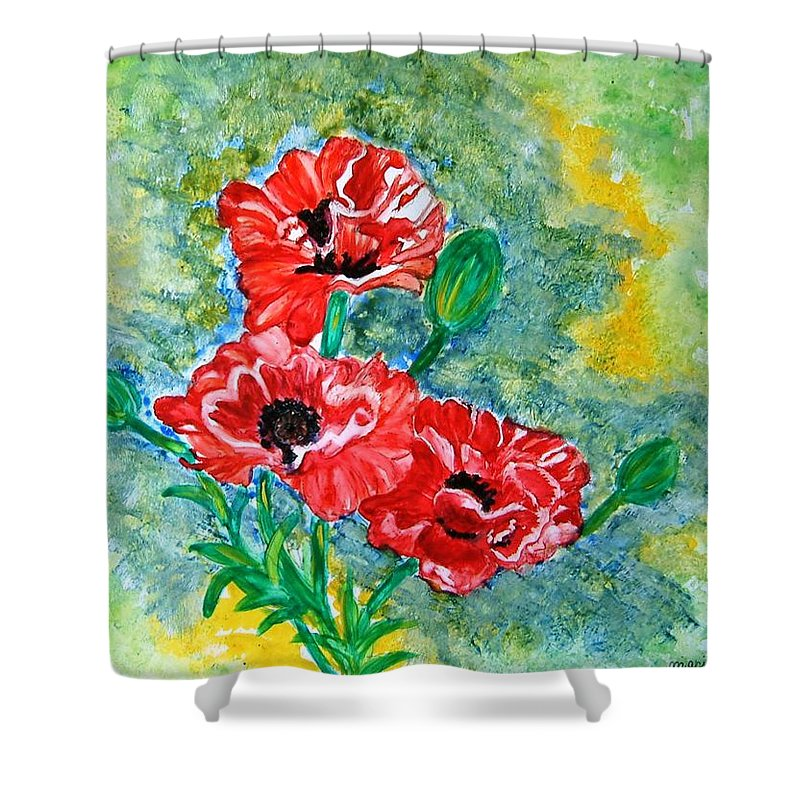 Poppies Flowers Red Yellow Green Blue Acrylic Watercolor Yupo Elegant Landscape Shower Curtain featuring the painting Elegant Poppies by Manjiri Kanvinde