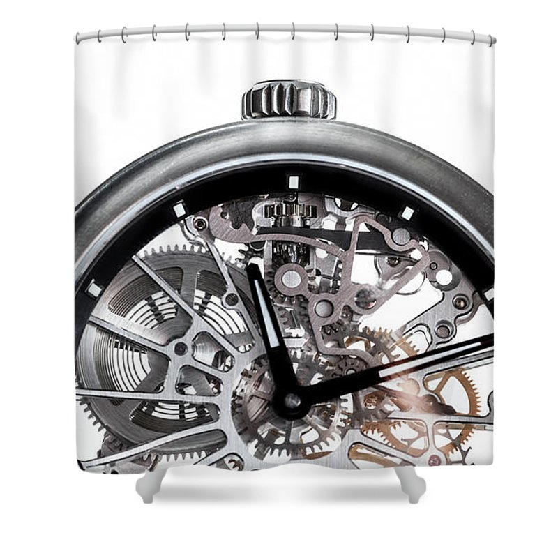 Watch Shower Curtain featuring the photograph Elegant Watch With Visible Mechanism, Clockwork Close-up. by Michal Bednarek