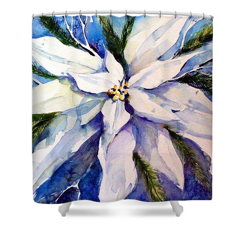 Christmas Shower Curtain featuring the painting Elegant White Christmas by Mindy Newman