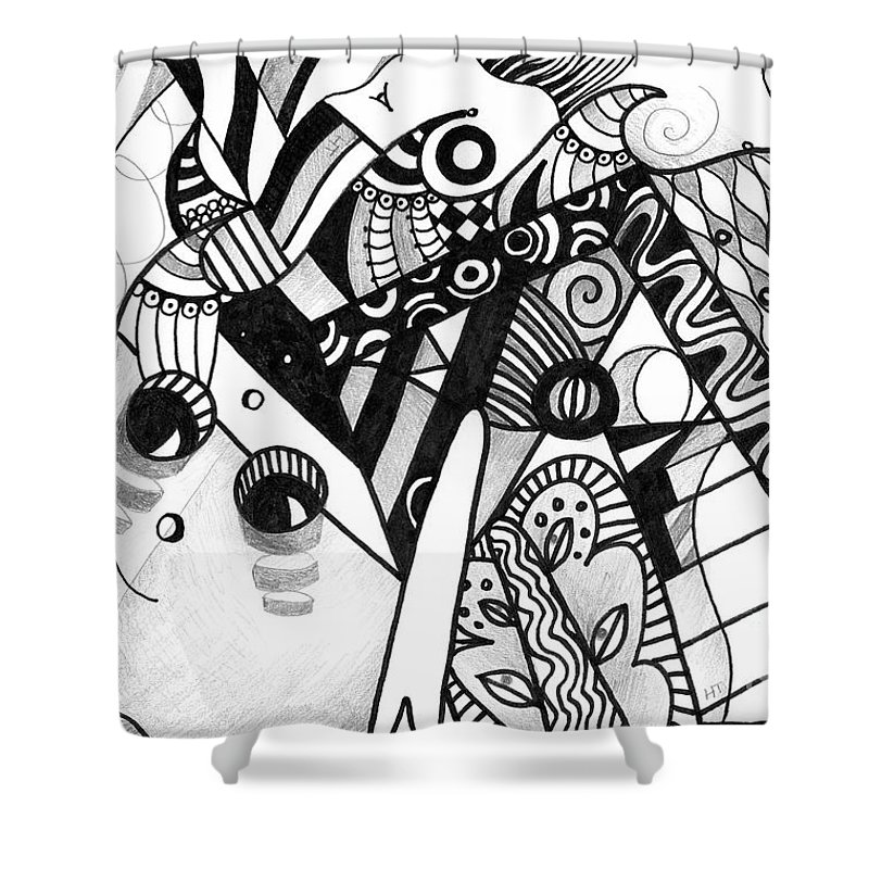 Abstract Shower Curtain featuring the drawing Elements At Play by Helena Tiainen